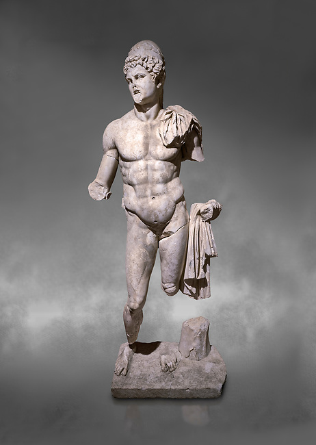 Roman statue of  Dioscuri. Marble. Perge. 2nd century AD. Inv no 2014/175. Antalya Archaeology Museum; Turkey.  Against a grey background