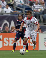 DC United midfielder Danny Cruz (2) on the attack. In a Major League Soccer (MLS) match, DC United defeated the New England Revolution, 2-1, at Gillette Stadium on April 14, 2012.