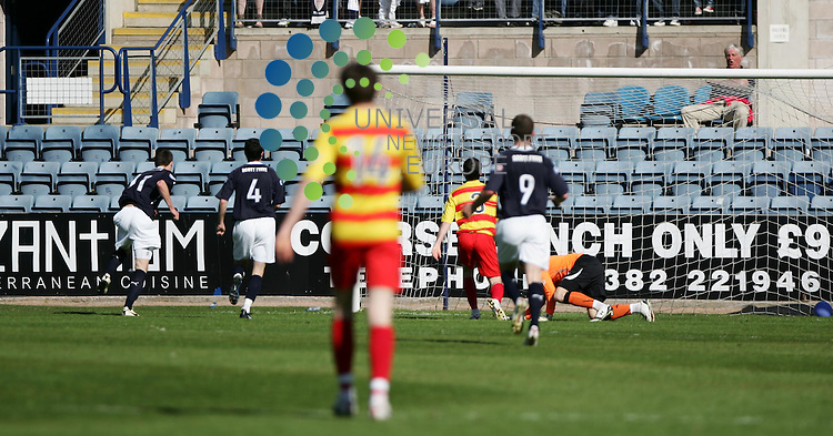 Dundee v Partick Thistle.Firhill Stadium.Saturday 30th April 2011 .Irn Bru 1st Division - Score .Craig Forsyth scores his second.www.universalnewsandsport.com.(0ffice) 0844 884 51 22....