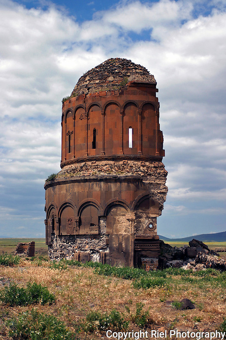 Ani is a medieval ghost city on the Turkish/Armenian border. The dome of this church was split by lightning in 1955.<br />