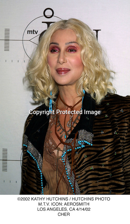 ©2002 KATHY HUTCHINS / HUTCHINS PHOTO.M.T.V. ICON: AEROSMITH.LOS ANGELES, CA 4/14/02.CHER