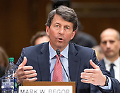 """Mark W. Begor, Chief Executive Officer, Equifax, Inc. testifies before the United States Senate Committee on Homeland Security and Governmental Affairs Permanent Subcommittee on Investigations during a hearing on """"Examining Private Sector Data Breaches"""" on Capitol Hill in Washington, DC on Thursday, March 7, 2019.<br /> Credit: Ron Sachs / CNP"""