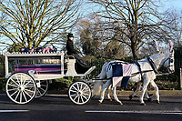 The horse and carriage carrying the coffin of Mishi Morath approaches the Dulwich Hamlet FC Stadium during the funeral of Dulwich Hamlet FC supporter Mishi Morath at Champion Hill Stadium on 15th January 2020