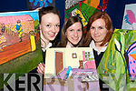 ART ATTACK: Students from St. Josephs Secondary School in Abbeyfeale with some of the Art Work featured in an art sale and exhibition at Abbeyfeale Library on Monday evening.  L/r. Siobhan Murphy, Maeve Ward and Amanda Harnett..