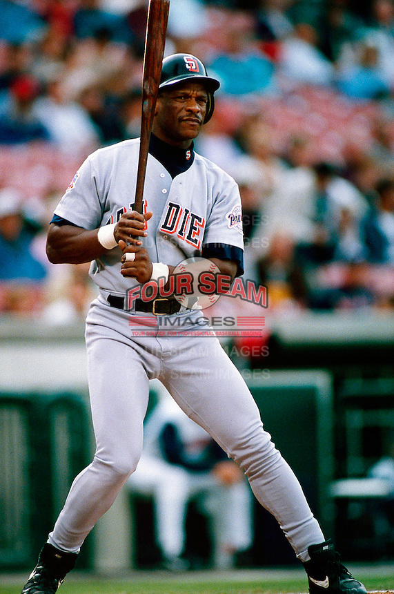 Ricky Henderson of the San Diego Padres during a game at Anaheim Stadium in Anaheim, California during the 1997 season.(Larry Goren/Four Seam Images)
