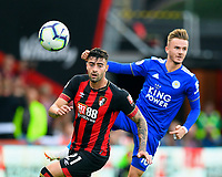 Diego Rico of AFC Bournemouth watches the ball ahead of James Maddison of Leicester City  during AFC Bournemouth vs Leicester City, Premier League Football at the Vitality Stadium on 15th September 2018