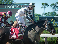 ELMONT, NY - JULY 7: Limousine Liberal #1 wins the G3 Belmont Sprint Championship at Belmont Park in Elmont, NY (Photo by Sophie Shore/Eclipse Sportswire/Getty Images)