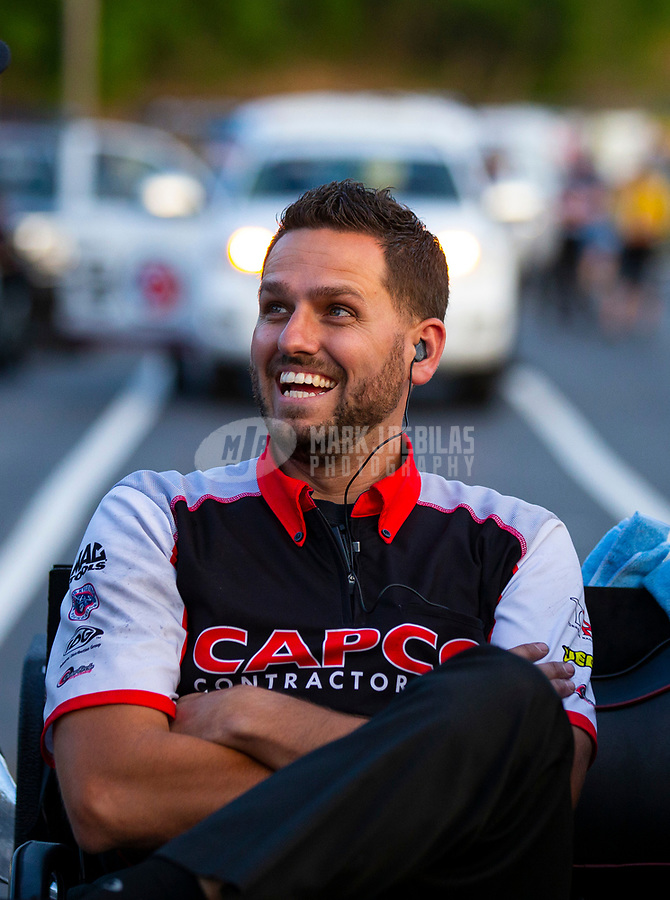 May 4, 2018; Commerce, GA, USA; NHRA top fuel crew member Gary Pritchett during qualifying for the Southern Nationals at Atlanta Dragway. Mandatory Credit: Mark J. Rebilas-USA TODAY Sports