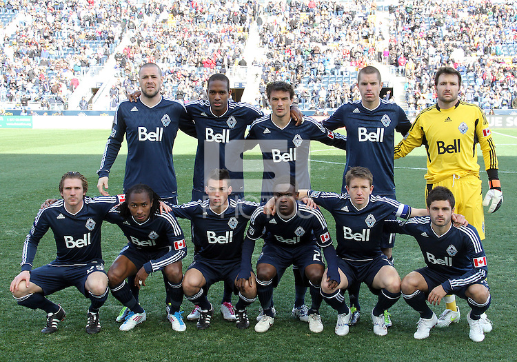 Starting eleven of the Vancouver Whitecaps during an MLS match against the Philadelphia Union at PPL Park in Chester, PA. on March 26 2011.Union won 1-0.