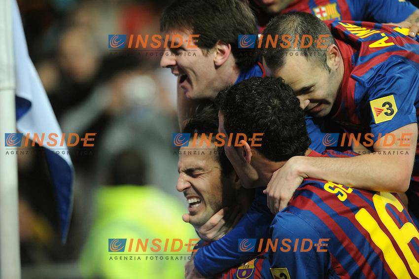 "Joie de Cesc Fabregas - Lionel Messi - Andres Iniesta et Sergio Busquets (Barcelone)  .Madrid 10/12/2011 Stadio ""Santiago Bernabeu"".Liga Spagnola.Real Madrid Vs Barcellona.Foto Insidefoto / Paco Largo / Panoramic.ITALY ONLY"