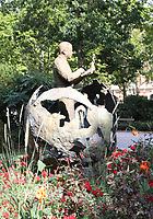 General view of a monument to Antoine de Saint-Exupéry écrivain-pilote, in Le Jardin Royal, Toulouse, Occitanie, France on 23.7.19.