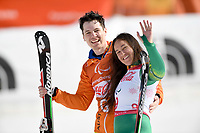 Day 4 / SGS Combined / Bronze Medalist Melissa Perrine w/guide Christian Gieger<br /> PyeongChang 2018 Paralympic Games<br /> Australian Paralympic Committee<br /> PyeongChang South Korea<br /> Tuesday March 13th 2018<br /> &copy; Sport the library / Jeff Crow