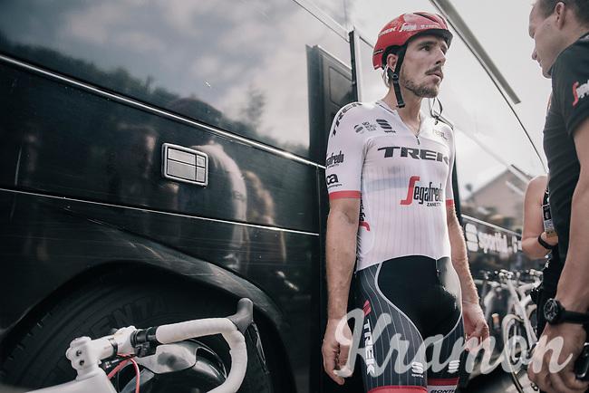 John Degenkolb (DEU/Trek-Segafredo) back at the teambus after a crash infested stage for the team<br /> <br /> 104th Tour de France 2017<br /> Stage 11 - Eymet &rsaquo; Pau (202km)