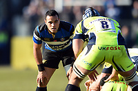 Kahn Fotuali'i of Bath Rugby looks on. Aviva Premiership match, between Bath Rugby and Sale Sharks on February 24, 2018 at the Recreation Ground in Bath, England. Photo by: Patrick Khachfe / Onside Images