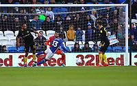 29th February 2020; Cardiff City Stadium, Cardiff, Glamorgan, Wales; English Championship Football, Cardiff City versus Brentford; Junior Hoilett of Cardiff City wins the header to score his sides first goal making it 1-2 in the 34th minute