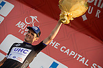 Alessandro Bazzana of UHC Team wears the Black Sprint Jersey on the podium at the end of Stage 2, The Capital Stage, of the 2015 Abu Dhabi Tour running 129 km from Yas Marina Circuit to Yas Mall, Abu Dhabi. 9th October 2015.<br /> Picture: ANSA/Claudio Peri | Newsfile