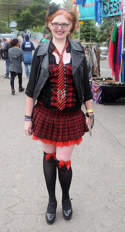 One of the distinctive dressed attenders seen at Mountain Jam Music Festival of 2015, in Hunter, NY, on Thursday June 4, 2015. Photo by Jim Peppler. Copyright Jim Peppler 2015.