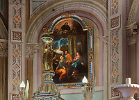 Visitation, oil painting by Noel-Nicolas Coypel, 1690-1734, in the choir of the Eglise Notre-Dame-de-la-Visitation, a catholic church built 1878-79 in Neo Romanesque style by Gedeon Leblanc, 1832-1905, in Champlain, Mauricie, on the Chemin du Roy, Quebec, Canada. The interior was designed in 1881 by Louis-Joseph Bourgeois, 1856-1930. The Chemin du Roy or King's Highway is a historic road along the Saint Lawrence river built 1731-37, connecting communities between Quebec City and Montreal. Picture by Manuel Cohen