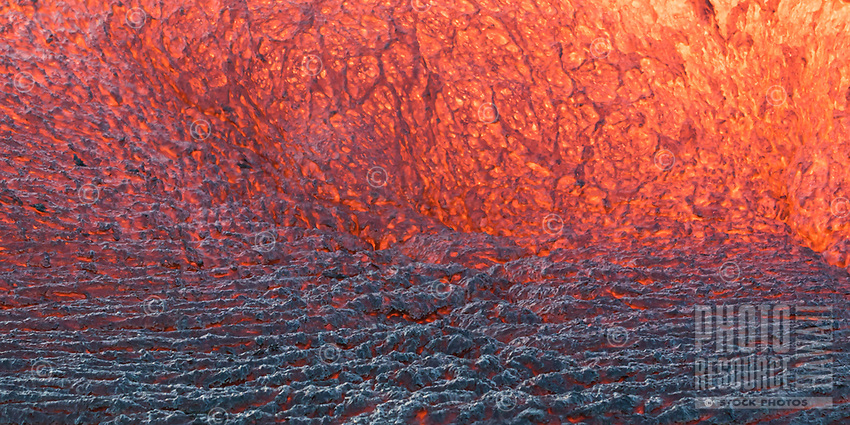 Lava Color Cooling Scale:  A close-up of the color spectrum of cooling lava, Pulama Pali (of Holei Pali), Hawai'i Volcanoes National Park, Puna, Hawai'i Island, September 2017.