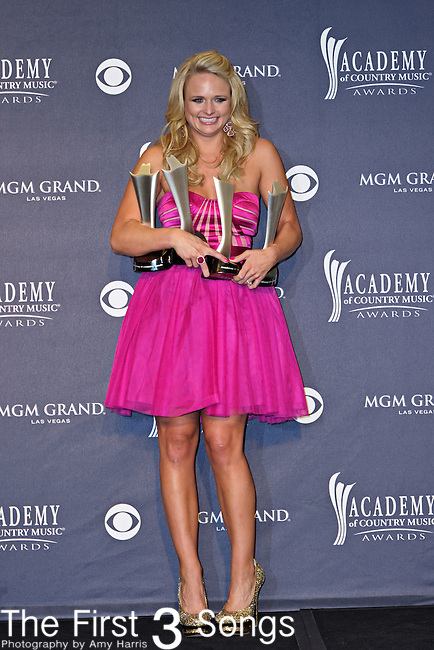"Miranda Lambert with awards in the press room at the 46th Annual Academy of Country Music Awards in Las Vegas, Nevada on April 3, 2011.  Miranda won Top Female Vocalist and Song of the Year, Video of the Year, and Single Record of the Year for ""The House That Built Me."""