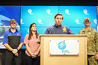 Florida Governor Ron DeSantis visits FPLCC/DCC during the 2019 Hurricane Dorian preparation in Riviera, Fla. on August 30, 2019.