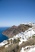 View of the caldera looking south in Santorini, Greece on July 3, 2013.