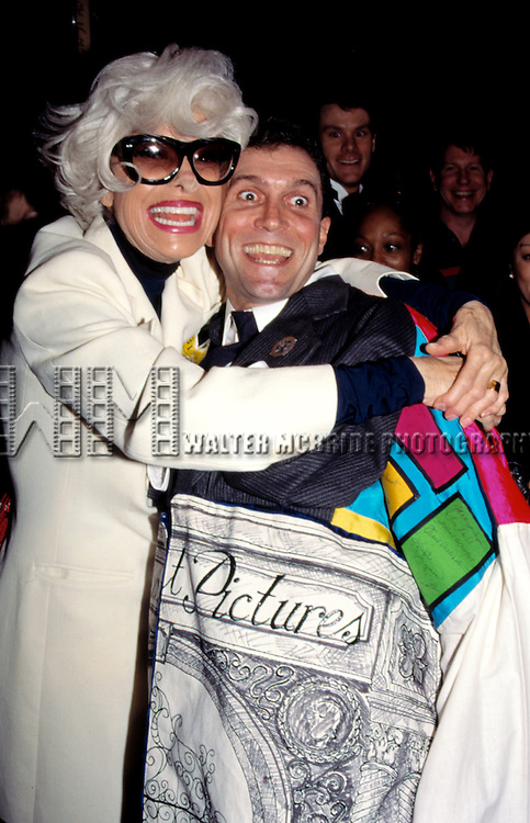 CAROL CHANNING and STEPHEN BOURNEUF during the Opening Night Gypsy Robe Ceremony for HELLO, DOLLY at the Lunt Fontanne Theatre in New York City on April 11, 1996