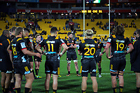 The Chiefs reflect on the loss after the Super Rugby quarterfinal match between the Hurricanes and Chiefs at Westpac Stadium in Wellington, New Zealand on Friday, 20 July 2018. Photo: Dave Lintott / lintottphoto.co.nz