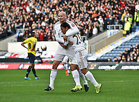 Jefferson Montero of Swansea celebrates scoring the opening goal with team-mate Jonjo Shelvey of Swansea   during the Emirates FA Cup 3rd Round between Oxford United v Swansea     played at Kassam Stadium  on 10th January 2016 in Oxford