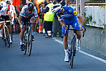 Julian Alaphilippe (FRA) Deceuninck-Quick Step attacks on the Poggio followed by Peter Sagan Bora-Hansgrohe near the end of the 110th edition of Milan-San Remo 2019 running 291km from Milan to San Remo, Italy. 23rd March 2019.<br /> Picture: LaPresse/POOL/Bettini | Cyclefile<br /> <br /> <br /> All photos usage must carry mandatory copyright credit (© Cyclefile | LaPresse/POOL/Bettini)
