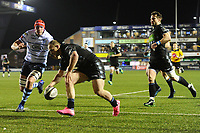 Nick Grigg of Glasgow Warriors scores his sides first try during the Guinness Pro14 Round 15 match between the Cardiff Blues and Glasgow Warriors at Cardiff Arms Park in Cardiff, Wales, UK.  Saturday 16 February 2018