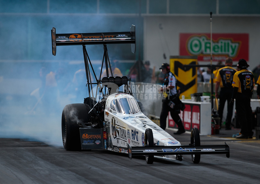 Mar 15, 2019; Gainesville, FL, USA; NHRA top fuel driver Austin Prock during qualifying for the Gatornationals at Gainesville Raceway. Mandatory Credit: Mark J. Rebilas-USA TODAY Sports