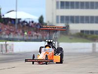 May 20, 2017; Topeka, KS, USA; NHRA top fuel driver Mike Salinas during qualifying for the Heartland Nationals at Heartland Park Topeka. Mandatory Credit: Mark J. Rebilas-USA TODAY Sports