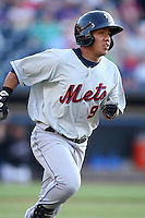 Binghamton Mets Shortstop Luis Hernandez (9) during a game vs. the Akron Aeros at Eastwood Field in Akron, Ohio;  June 25, 2010.   Binghamton defeated Akron 5-3.  Photo By Mike Janes/Four Seam Images
