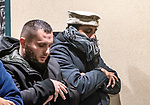 WATERBURY, CT. 01 January 2019-010119 - Rizwan Tarar, right, and Kujtim Imeroski both of Waterbury pray with others during a peaceful protest of the Boards management of the Mosque at Masjid Al Mustafa in Waterbury on Tuesday. Bill Shettle Republican-American