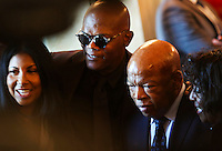 Actor Samuel Jackson poses with Civil Rights pioneer John Lewis (D-GA) during a reception in honor of the opening of the Smithsonian National Museum of African American History and Culture listens, in the Grand Foyer of the White House September 23, 2016, Washington, DC. <br /> Credit: Aude Guerrucci / Pool via CNP /MediaPunch