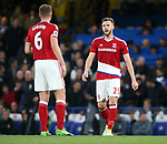 Middlesbrough's Calum Chambers argues with Ben Gibson after Chelsea's second goal during the Premier League match at Stamford Bridge Stadium, London. Picture date: May 8th, 2017. Pic credit should read: David Klein/Sportimage