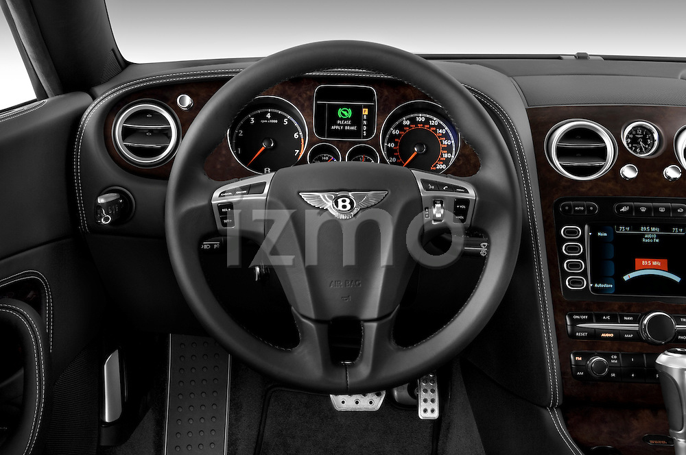 Steering wheel view of a 2008 - 2012 Bentley Continental GT Speed Coupe.