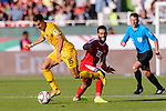 Chris Ikonomidis of Australia (R) competes for the ball with Mohammed Darwish of Palestine (L) during the AFC Asian Cup UAE 2019 Group B match between Palestine (PLE) and Australia (AUS) at Rashid Stadium on 11 January 2019 in Dubai, United Arab Emirates. Photo by Marcio Rodrigo Machado / Power Sport Images