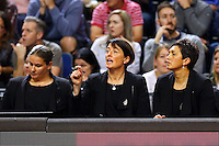 10.02.2017 Silver Ferns coach Janine Southby issues instructions to her players during the Silver Ferns v England Roses Vitality Netball International Series test match played at the Echo Arena in Liverpool. Mandatory Photo Credit © Paul Greenwood/Michael Bradley Photography.