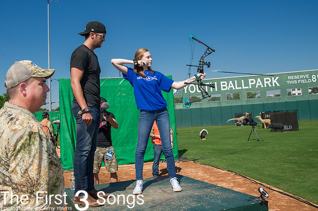 Luke Bryan attends the ACM & Cabela's Great Outdoor Archery Event during the 50th Academy Of Country Music Awards at the Texas Rangers Youth Ballpark on April 18, 2015 in Arlington, Texas.