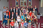 CHRISTENED: Little baby Sarah Ruby Quill Ballyheigue withn bher family and friends afterb her christening in St Marys Church, Ballyheigue on Saturday. Front l-r: David OSullivan, Sophie and Jacob Quill, and Jack OSullivan. Seated l-r: mary Quill, Declan Quill, Mikew,Sarah Ruby (baby) and Tracy  Quill and Joanne James. Back were, Josie James, Eamon and Eric OSullivan, Sharon Brennan, Brendan Quill, Liam Brennan, Michael Quill, Aaron James, Louise JUames, Fr Tom Leane, Shane and Fiona OSullivan, Kieran James, Bryan Sheehan,Tommy James, Ronan Cooper and Ed Mullins...