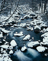 Winter scene on the Little Pigeon River; Great Smoky Mountains National Park, TN