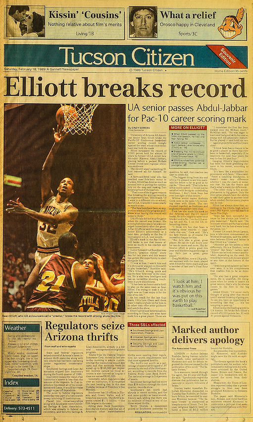 This is the Tucson Citizen front page for February  18, 1989, when basketball player Sean Elliott broke a Pac-10 scoring record previously held by Lew Alcindor (Kareenm Abdul-Jabbar).