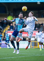 Paul Hayes of Wycombe Wanderers and Jack Senior of Luton Town during the Sky Bet League 2 match between Wycombe Wanderers and Luton Town at Adams Park, High Wycombe, England on the 21st January 2017. Photo by Liam McAvoy.