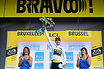Wout Van Aert (BEL) retains the young riders White Jersey after his Team Jumbo-Visma win Stage 2 of the 2019 Tour de France a Team Time Trial running 27.6km from Bruxelles Palais Royal to Brussel Atomium, Belgium. 7th July 2019.<br /> Picture: ASO/Pauline Ballet | Cyclefile<br /> All photos usage must carry mandatory copyright credit (© Cyclefile | ASO/Pauline Ballet)