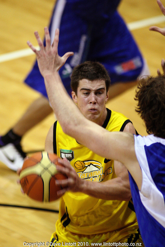 Taranaki guard Tim Cleaver in action during the National basketball league match between the Wellington Saints  and Taranaki Mountainairs at TSB Bank Arena, Wellington, New Zealand on Friday, 9 April 2010. Photo: Dave Lintott / lintottphoto.co.nz