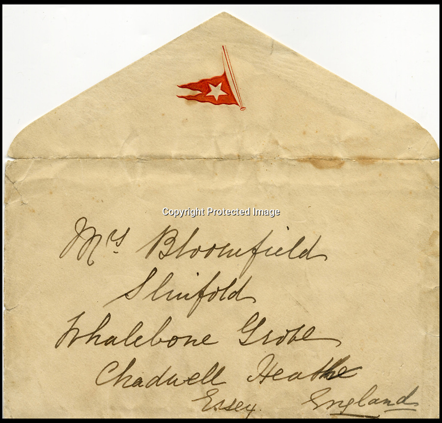 BNPS.co.uk (01202 558833)<br /> Pic: HenryAldridge/BNPS<br /> <br /> ***Please use full byline***<br /> <br /> The last ever letter written on Titanic in which a passenger wrote of the 'wonderful' journey her family had enjoyed has surfaced after 102 years.<br /> <br /> The letter, on Titanic headed notepaper, was penned just hours before the doomed liner struck an iceberg and sank with the loss of 1,522 lives.<br /> <br /> It was meant to have been posted by Esther Hart after the ship docked but was kept by the author, who survived the disaster along with her young daughter Eva.<br /> <br /> The incredible note is the only known surviving letter written on the fateful day - Sunday April 14, 1912. It is now expected to sell for £100,000 at auction.