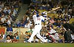 LOS ANGELES, CA. - September 02: Manny Ramirez of the Los Angeles Dodgers  batting during the game Dodgers vs. the Arizona Diamondbacks at Dodger Stadium in Los Angeles, California on September 2, 2009.