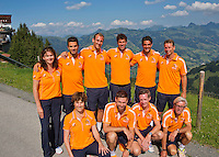 "Austria, Kitzbuhel, Juli 15, 2015, Tennis, Davis Cup, Dutch team on top of the ""Hahnenkam""  ltr:   Jean-Julien Rojer,  Jesse Huta Galung, Thiemo de Bakker, Robin Haase, and Captain Jan Siemerink,<br /> Photo: Tennisimages/Henk Koster"